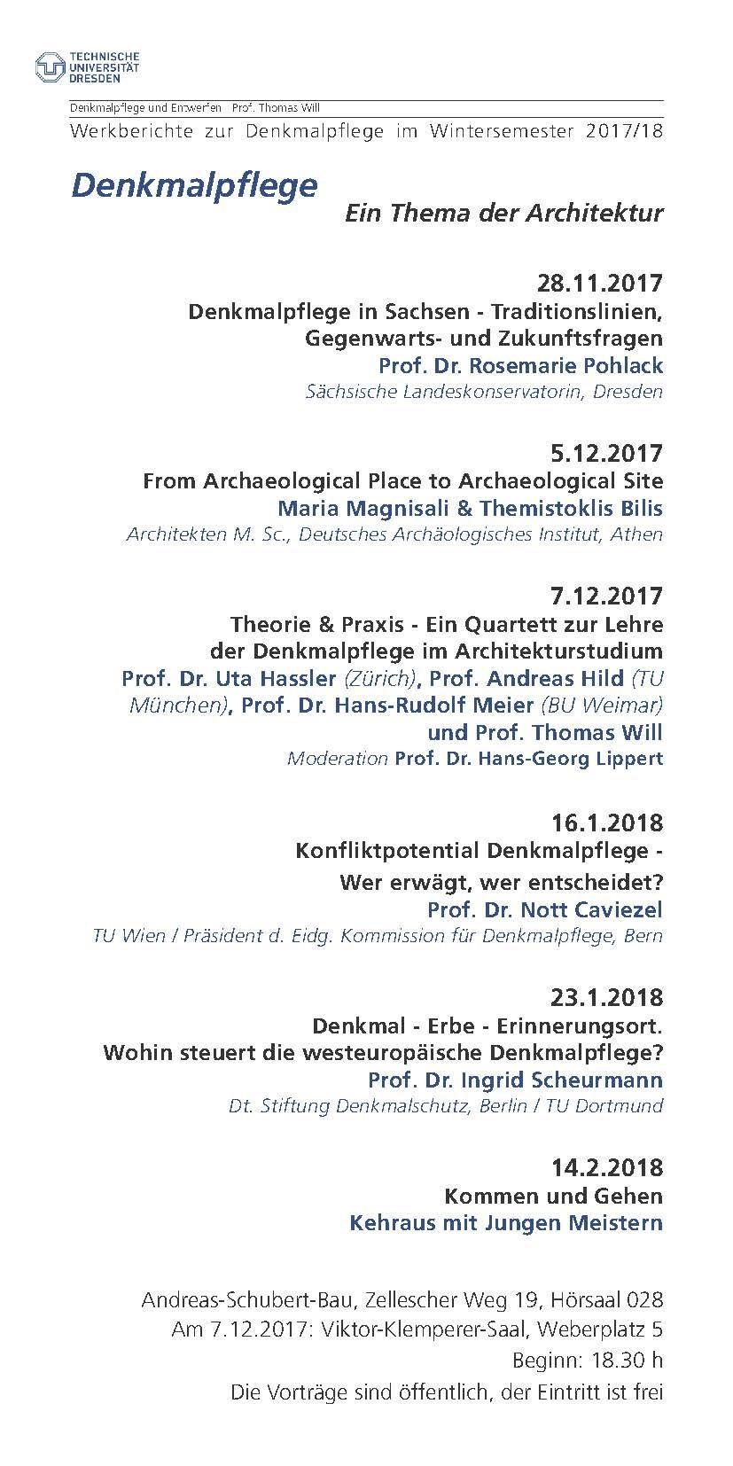 Werkberichte im Wintersemester 2017/18 — Fakultät