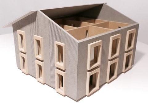 Modell des Prototyps Lehmhaus