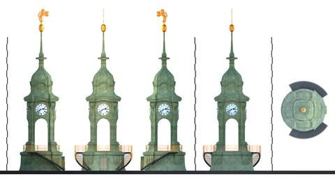 Neustädter Rathaus Dresden, Turmhaube