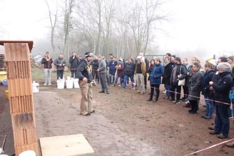 1. Praktische Demonstration der Verwendung von Heißkalkmörtel in der Ziegelei Hundisburg