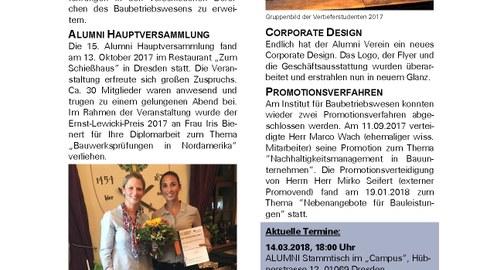 Deckblatt Almuni Newsletter