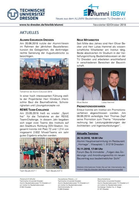 Erste Seite Alumni Newsletter 02/2018