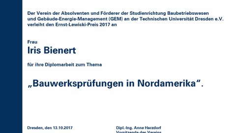 Urkunde Lewicki Preis