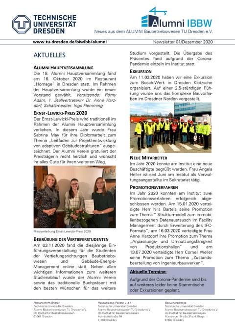 Bild 1. Seite Alumni Newsletter