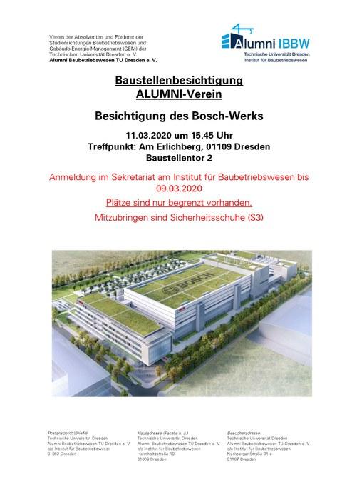 Flyer Ankündigung Baustellenexkursion Bosch