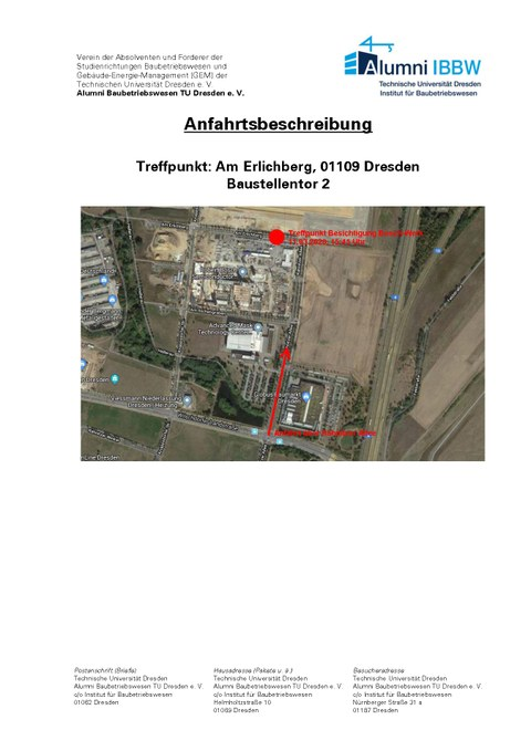 Anfahrtsbeschreibung Ankündigung Baustellenexkursion Bosch