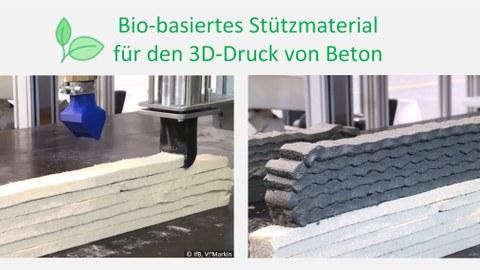 Betondruck mit recyklierbarem Stützmaterial