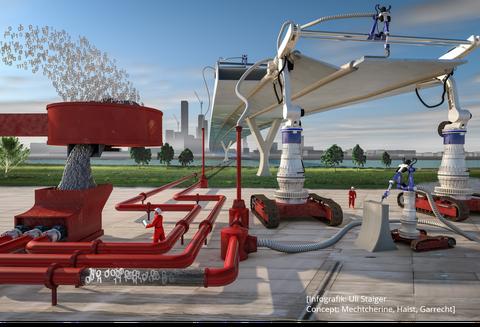 Eine Infografik, die zeigt, wie eine zukünftige Baustelle aussehen kann.