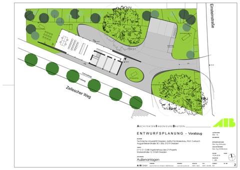 Lageplan des Ergebnishauses CUBE auf dem Grundstück am Zelleschen Weg
