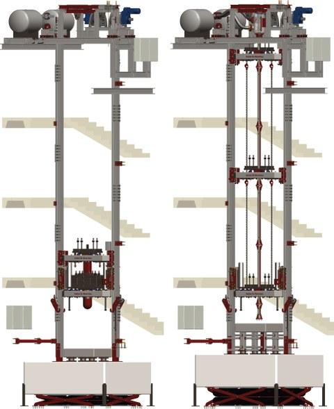 Fallanlage, links: Freifallkonfiguration, rechts: beschleunigte Konfiguration
