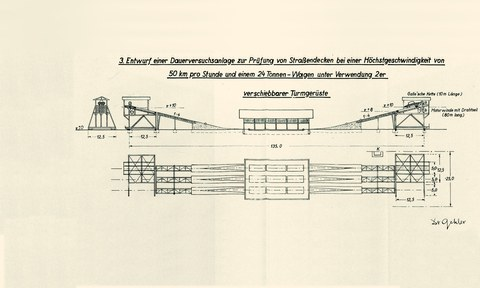 Found in the archive: plan of a testing field for reinforced concrete slabs for streets (1936)