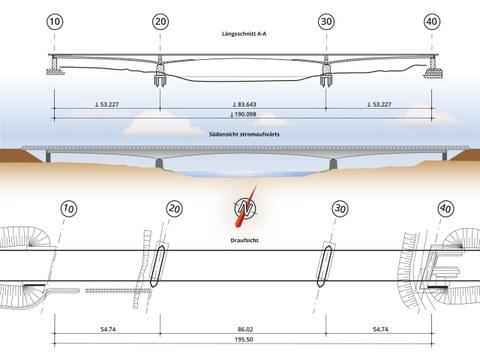 Grafik zeigt eine Brücke in verschiedenen Ansichten