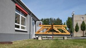 Außengelände des OML mit Dauerversuch für den Lehrstuhl für Holzbau