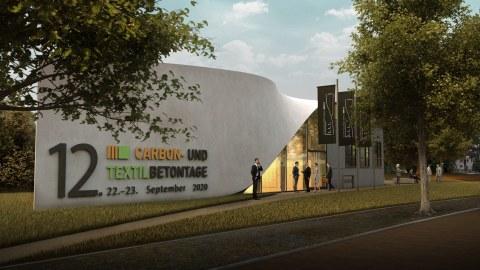 Bild zeigt eine Visualisierung des geplanten Gebäudes aus Carbonbeton mit dem Schriftzug der 12. Carbon- und Textilbetontage
