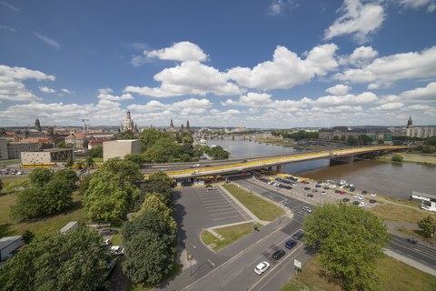 Photo shows a wide angle view of the Carola Bridge Dresden from an elevated position
