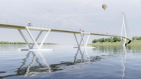 Visualisierung zeigt einen Brückenentwurf für den Wettbewerb