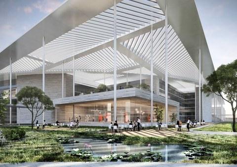 Foto zeigt eine Visualisierung des Bauforschungszentrums für die Lausitz