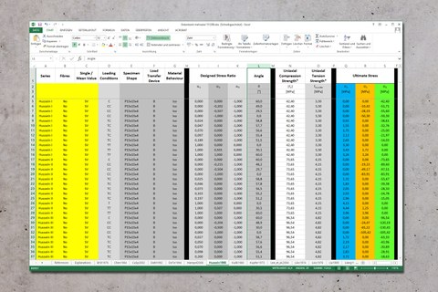 Screenshot of an Excel table from the Publications Tools/Download area