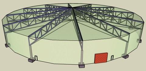 Stützenfreie Überdachung der 80 m großen Versuchshalle