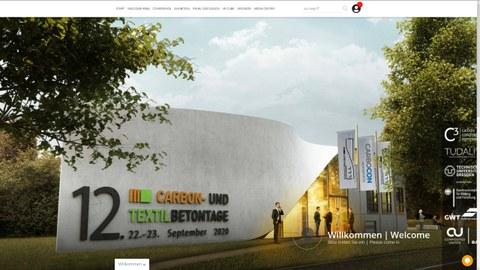 Bild zeigt einen Screenshot der digitalen Webpräsentation zur 2020er Konferenz der Carbon- und Textilbetontage