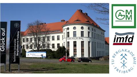 Campus TU Freiberg mit Logos