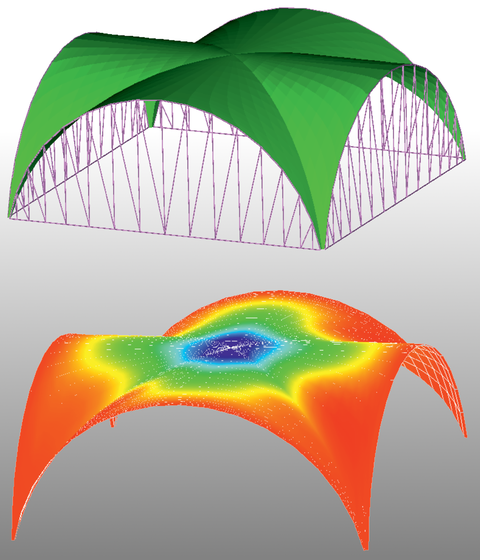 Verformungsberechnung eines Schalentragwerkes in Form eines Kreuzgewölbes mit quadratischer Grundfläche