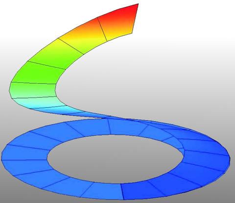 Verformte und verformte geschlitzte Kreisringplatte bei maximaler Last