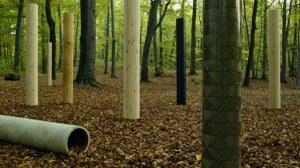 Formholzrohre im Wald
