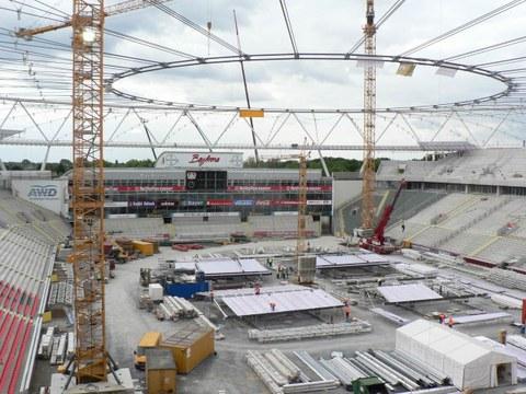 BayArena Leverkusen Innenansicht während der Bauphase