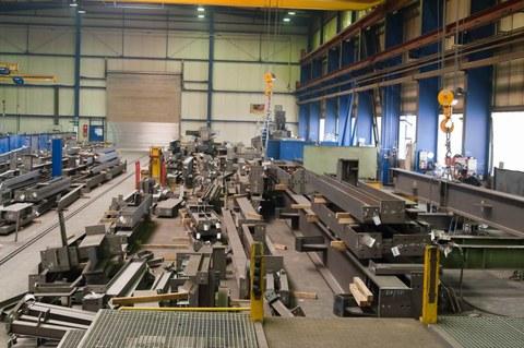 Blick in die Werkshalle von Züblin Stahlbau