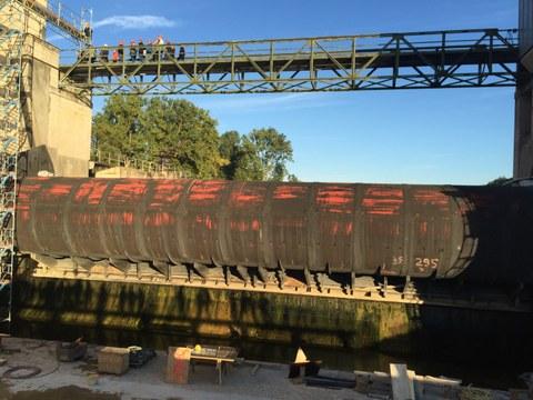 Trockengelegte Baugrube beim Walzenwehr Viereth-Trunstadt