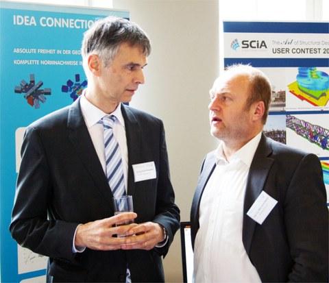 Dr. Norbert Sauerborn, stahl+verbundbau GmbH (links) im Gespräch mit Dipl.-Ing. MBA Ulrich Werner von der Bauakademie Sachsen