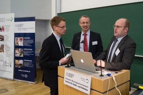 Ulrich Werner, Prof. Richard Stroetmann und Matthias Albiez im fachlichen Austausch