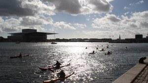 Kanus im Hafen in Kopenhagen