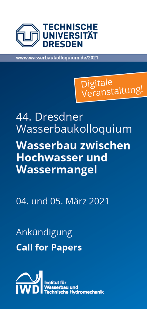 Titelseite des Call for Papers für das Dresdner Wasserbaukolloquium 2021