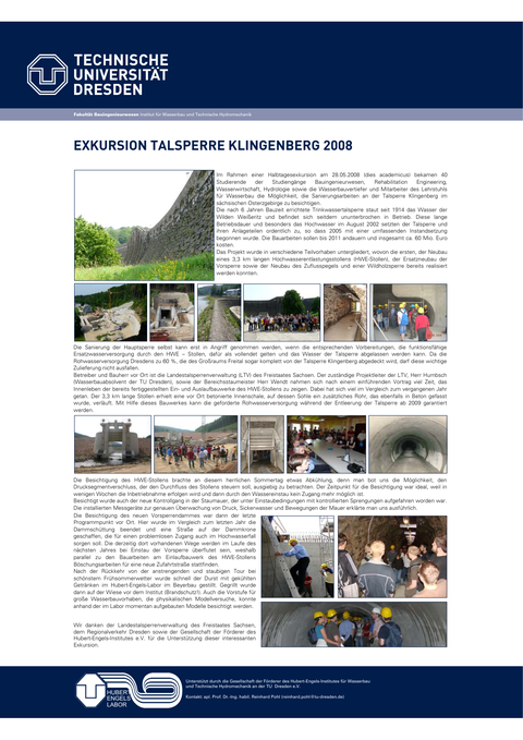 Poster der Exkursion zur Talsperre Klingenberg 2008