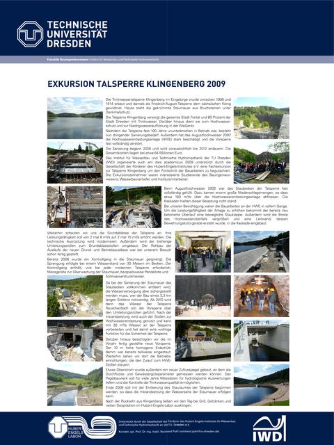 Poster der Exkursion zur Talsperre Klingenberg 2009