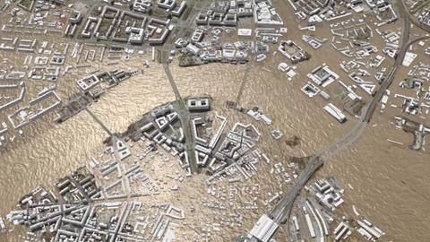 Ergebnisdarstellung einer Hochwassersimulation im digitalen Stadtmodell