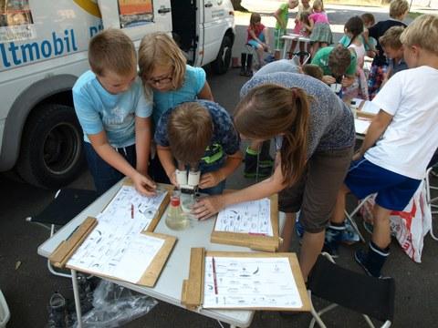 Schüler der Grundschule Lichtenberg beim Umweltmobil