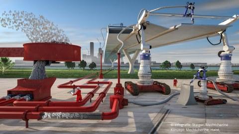 Illustration zum vollautomatisierten Bauen der Zukunft mit Beton 3D Druck