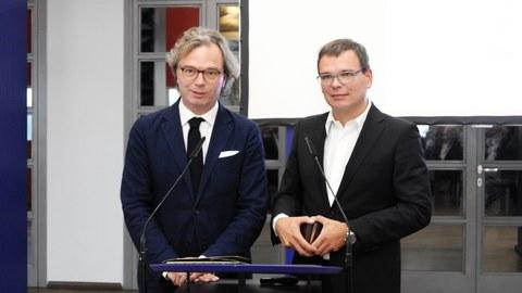 Verleihung des Großen DAI-Preises für Baukultur 2018 an Ansgar Schulz (links) und Benedikt Schulz (rechts)))