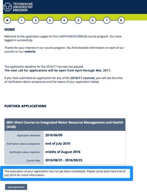 Ein Screenshot, der zeigt wo nach Einloggen in das Bewerberportal der Status der Bewerbung angezeigt wird.