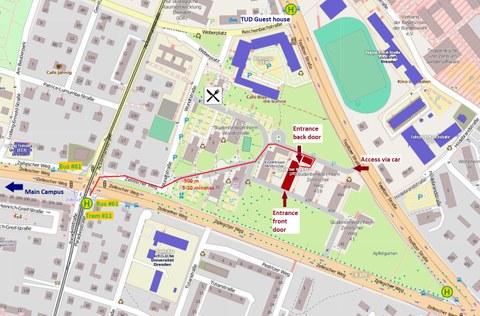Karte mit Wegbeschreibung zu CIPSEM