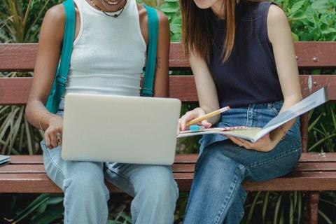 Verschiedene Studentinnen, Die Sich Gemeinsam auf die Prüfung im Park vorbereiten