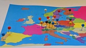 Europakarte mit Pins