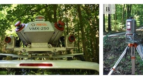 Das Bild links zeigt einen mobilen Laserscanner auf einem Autodach, rechts ist ein stationärer Scanner abgebildet