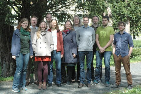 The photo shows the eleven employees of the Professorship for Biodiversity and Nature Conservation