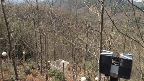 Ein Laserscanner steht auf deiner Untersuchungsfläche in China. Die Fläche ist am Hang gelegen und mit Bäumen bestanden. Zwischen den Bäumen befinden sich weiße Kugeln zur Markierung der Fläche.