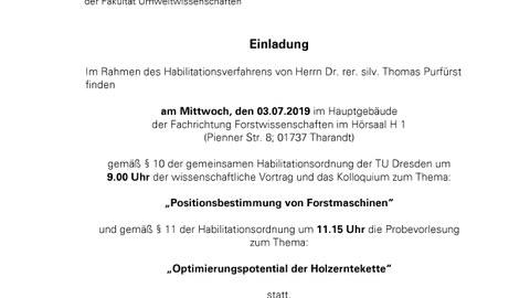 Einladung Habilitation Purfürst