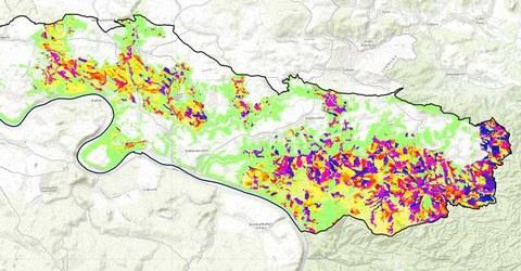 Karte von Gefährdungsgebieten im Nationalpark Sächsische Schweiz